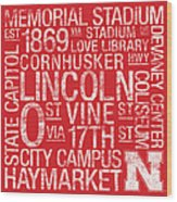 Nebraska College Colors Subway Art Wood Print by Replay Photos