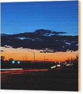 Nebraska Highway Sunset Wood Print