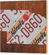 Nebraska License Plate Map Art Wood Print