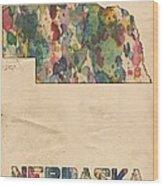 Nebraska Map Vintage Watercolor Wood Print