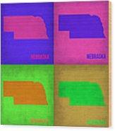 Nebraska Pop Art Map 1 Wood Print