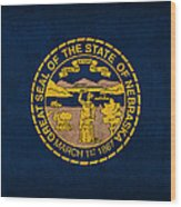 Nebraska State Flag Art On Worn Canvas Wood Print