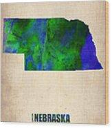 Nebraska Watercolor Map Wood Print by Naxart Studio