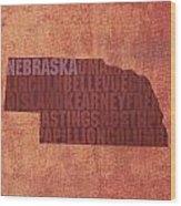 Nebraska Word Art State Map On Canvas Wood Print by Design Turnpike
