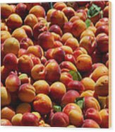 Nectarines For Sale At Weekly Market Wood Print