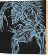 Negative Werewolf Wood Print