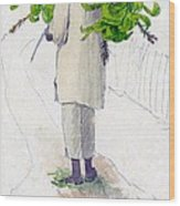 Negro Man Carrying Plantains On Pole Wood Print