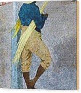 Negro Man Stripping Cane Jamaica Wood Print