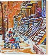 Neighborhood Street Hockey Game Last Call Time For Dinner  Montreal Winter Scene Art Carole Spandau Wood Print