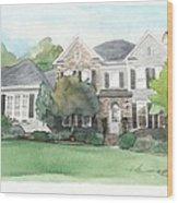 Neighbors House Watercolor Portrait Wood Print