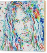 Neil Young - Watercolor Portrait Wood Print