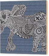 Nelly The Elephant Denim Wood Print