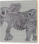 Nelly The Elephant Grey Wood Print