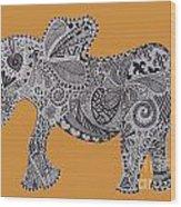 Nelly The Elephant Orange Wood Print