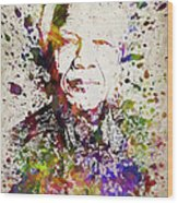 Nelson Mandela In Color Wood Print
