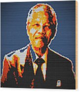 Nelson Mandela Lego Pop Art Wood Print