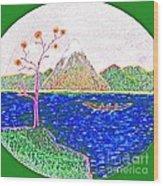 Neno Boat Fudzi Wood Print