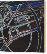 Neon 1957 Chevy Dash Wood Print by Steve McKinzie