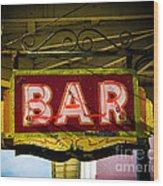 Neon Bar Wood Print