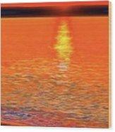Neon Beach Sunset Wood Print