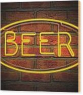 Neon Beer Sign On A Face Brick Wall Wood Print