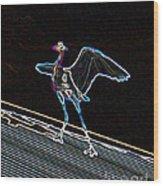 Neon Blue Heron Wood Print