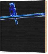 Neon Bluebird Wood Print