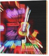 Neon Burst In Downtown Nashville Wood Print by Dan Sproul