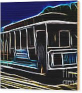 Neon Cable Car Wood Print