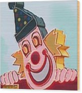 Neon Clown Wood Print