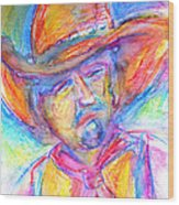 Neon Cowboy Wood Print by M C Sturman