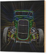 Neon Deuce Coupe Wood Print