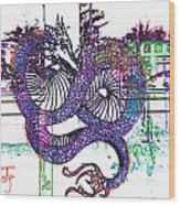 Neon Dragon In High Contrast Wood Print