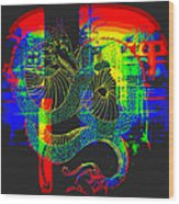 Neon Dragon Painted Wood Print