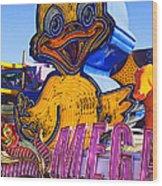 Neon Duck Wood Print by Garry Gay