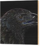 Neon Eagle Wood Print