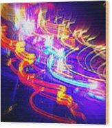 Neon Explosion Wood Print