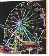 Neon Ferris Wheel Wood Print