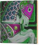 Neon Green Carousel Horse Wood Print