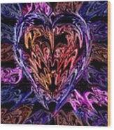 Neon Heart Wood Print by Anthony Bean
