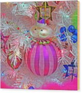 Neon Holiday Tree Wood Print