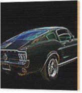 Neon Mustang Fastback 1967 Wood Print