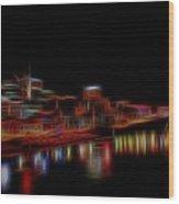 Neon Nashville Skyline At Night Wood Print