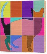 Neon Panels Cat Wood Print