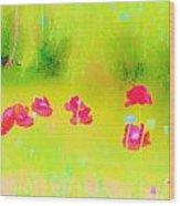 Neon Poppies Wood Print