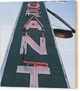 Neon Restaurant Sign Wood Print