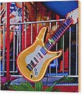 Neon Rock N Roll Wood Print