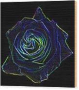 Neon Rose 5 Wood Print