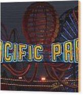 Neon Sign At Pacific Park At Santa Monica Wood Print