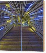 Neon Steps Wood Print by Akos Kozari